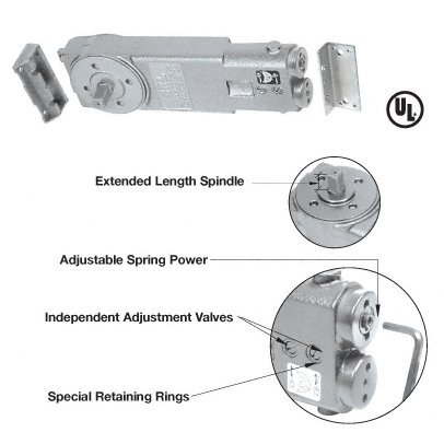 CRL Adjustable Spring Power 105 Degree No Hold Open 3/4'' Long Spindle Overhead Concealed Door Closer - Body Only