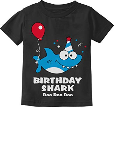 (Baby Shark Doo doo doo First/2nd Birthday Shark Outfit Infant Kids T-Shirt 18M Black)