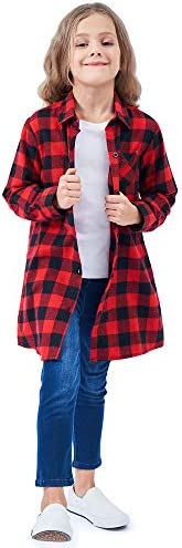 OCHENTA Girls' Long Sleeve Button Down Plaid Flannel Shirt D