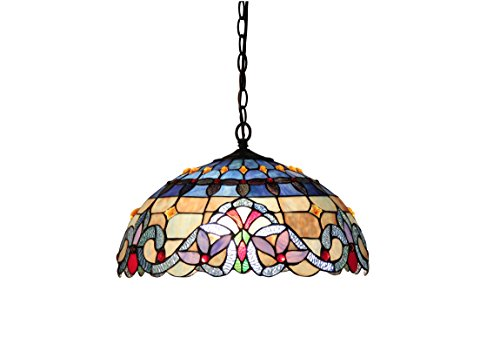 Chloe Lighting CH33381VB18-DH2 Tiffany Style Victorian 2-Light Ceiling Pendant Fixture 18-Inch Shade, Multicolored