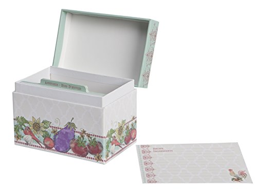 C.R. Gibson Q2-14116 Alfresco Recipe File Box with Cards, Multicolor