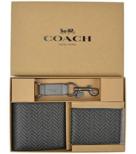 (Coach Men's Boxed 3 in 1 Wallet Gift Set With Herringbone Print, Black F73117)