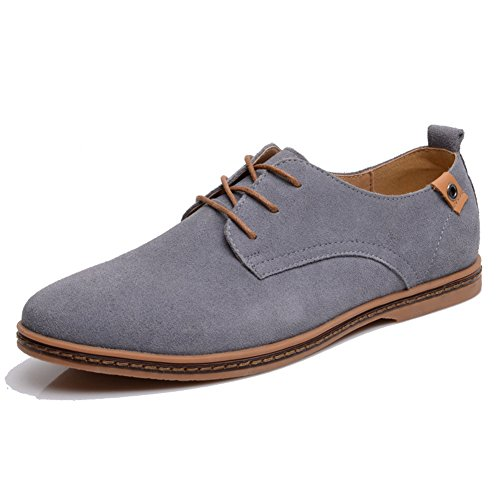 SHIBEVER Men's Leather Classic Oxfords Casual Shoes lace-up Flats loafers Gray 11