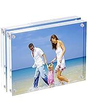 Cadres Photo en Acrylique Clair, 9x 13cm Double face Magnétique cadre Photo, Ordinateur de Bureau écran sans Cadre de Carte Postale–Lot de 2