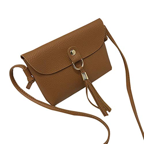 Fashion Handbag Shoulder Bags Woman's Small Mini with Bafaretk Messenger Tassel Vintage BROWN Bag aw0qxIFd