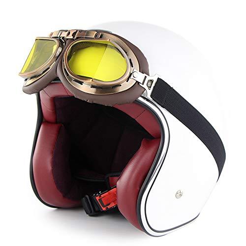 FlyingBoy Open Face 3/4 Retro Motorcycle Helmet, DOT Approved Harley Street Bike Skateboard Unisex (Send Goggles),3,L
