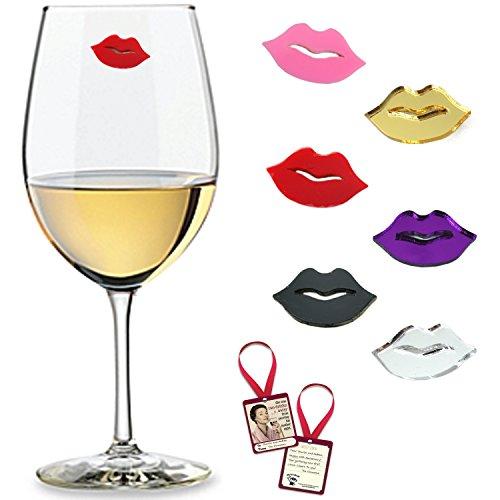 UPC 743724395594, Kissable Lips Wine Glass Charms & Markers Set of 6 with Sassy Bottle Gift Tag