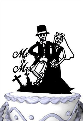 JC Wedding Cake Topper - Skeleton Mr & Mrs for Halloween Party Decoration - Soiree Collection