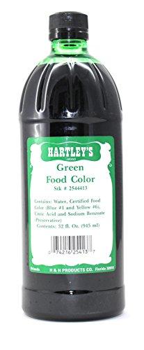 Hartleys Green Food Coloring Commercial Grade Professional Kitchen Liquid Color 32 Oz by Hartleys