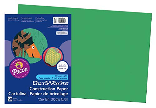 (SunWorks Construction Paper, Holiday Green,  12