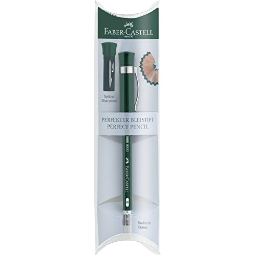 Faber-Castell Perfect Pencil Castell 9000 in Gift Box - #2 Pencil with Built-in Pencil Sharpener and Extender