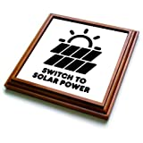 3dRose Carsten Reisinger - Illustrations - Switch to solar power electric power from the sun alternative energy - 8x8 Trivet with 6x6 ceramic tile (trv_294721_1)