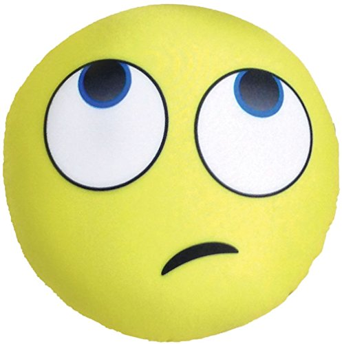 iscream X-Pressive! Emoji Whatever Rolled Eyes 11'' x 11'' Microbead Accent Pillow by iscream