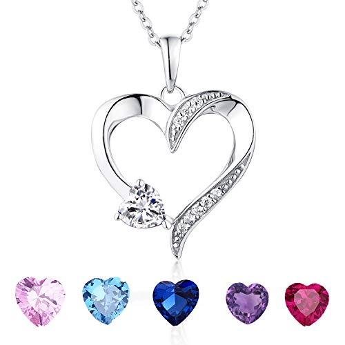 YL Women's Heart Necklace Sterling Silver Double Heart by Heart Pendant Cubic Zirconia Jewelry Valentine's Day Gift