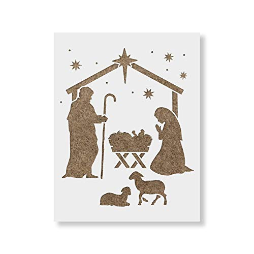 Nativity Manger Stencil - Reusable Christmas Stencil for Painting - Available in Multiple Sizes (Paintings Christmas Nativity)