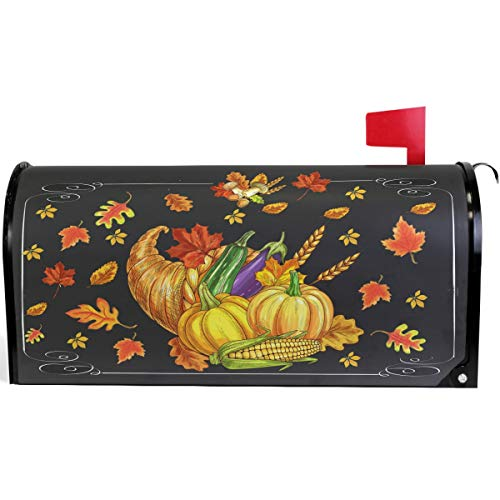 Pfrewn Autumn Fall Thanksgiving Pumpkin Red Truck Mailbox Cover Magnetic Standard Size, Sunflower Turkey Letter Post Box Cover Wrap Decoration Welcome Home Garden Outdoor 21