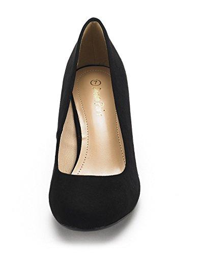 DREAM LUVLY Women's PAIRS Rhinestone Wedding BLACK SUEDE Bridal Pump Party BERTHA Shoes 3 Heel Glitter Low rOUOt