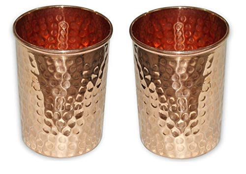Buddha4all Handmade pure copper glass cup for water Copper Tumbler (Set Of 2) (Copper Wine Stemless Glasses Hammered)