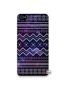 Hipster Pattern Triangle In Space Design Dark Purple Apple Iphone 4 Quality TPU Soft Rubber Case for Iphone 4/4s - AT&T Sprint Verizon - White Case