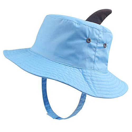 RAOEXI Sun Protection Hat for Toddler Boys Girls Wide Brim Summer Play Hat Animal Baby Bucket Hat with Chin Strap (Unicorn-Blue, XL(2-4 T)) ()