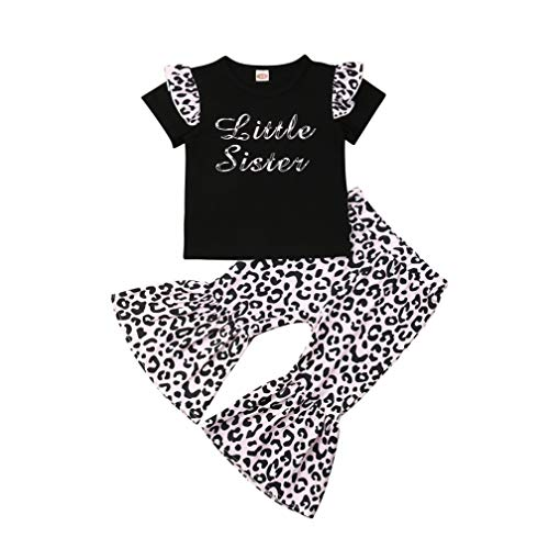Baby Girls Lace Off Shoulder Ruffle T Shirt Top+ Leopard Print Bell Bottom Pant Outfits Sets (4-5Y, Black(Short Sleeve))