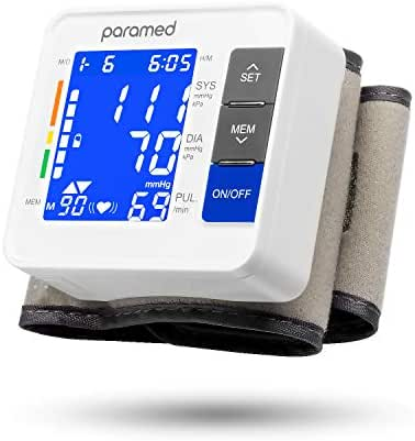 Wrist Blood Pressure Monitor by PARAMED: Automatic Blood-Pressure Kit of Bp Cuff Machine + 2AAA and Carrying Case - Large LCD Display with Backlight & 90 Sets Memory - FDA Approved
