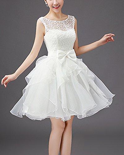 Con Coctel Floral Corto Vestido Vestido Para Cintura Fiesta Novia Mujer Blanco De De Arco YXqHP1