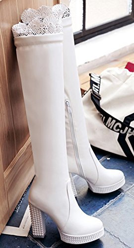 Chunky Booties Graceful White Aisun Women's Heels High High Top q0wZxUXw