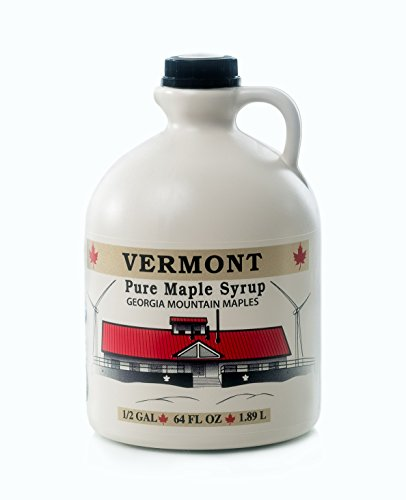 Georgia Mountain Maples of Vermont, Organic Maple Syrup, Dark Color Robust Taste, 64 Ounce