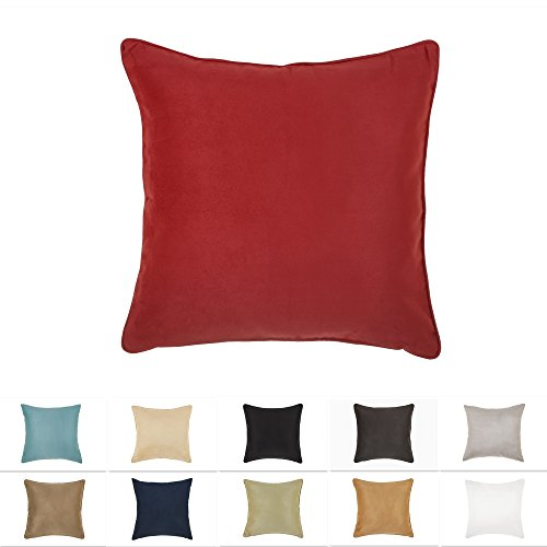 DreamHome 18 X 18 Inches Red Color Faux Suede Decorative Pillow Cover, Throw Pillow Case with Hidden Zipper, Super Soft…