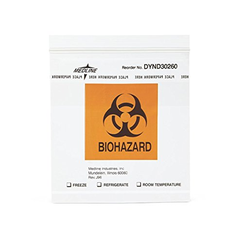 (Medline DYND30260Z Zip-Style Biohazard Specimen Bags, Plastic, Latex Free, 6