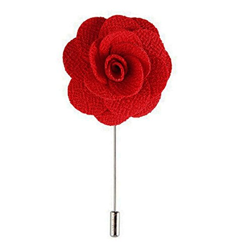 Sunny Home 5pcs Men's Lapel Flower Stick Brooch Pin Boutonniere for Suit (Red)