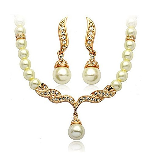 Girl Era Elegant Austrian Crystal Simulated Pearl Victorian Style Necklace Earrings Set Clear(g)