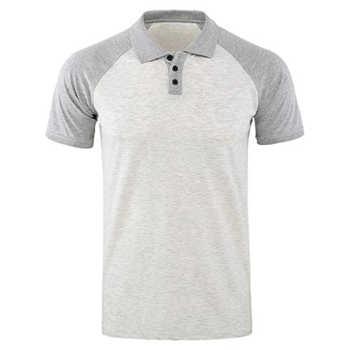 OrchidAmor Fashion Men's Boys Baggy Solid Short Sleeve Button Turn-Down Collar Henley T Shirts 2019 Summer Gray for $<!--$15.23-->