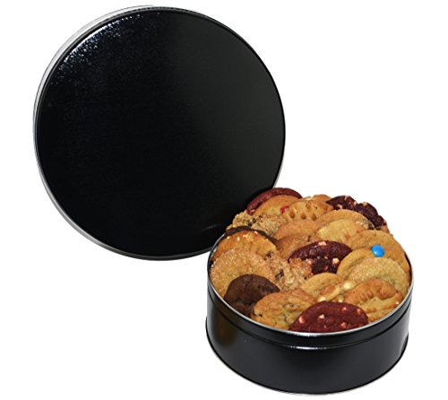 "Cookies From Home ""Black Round Tin"" - Freshly Hand Baked Gourmet Cookies and Brownies Gift Set -30 Cookies 