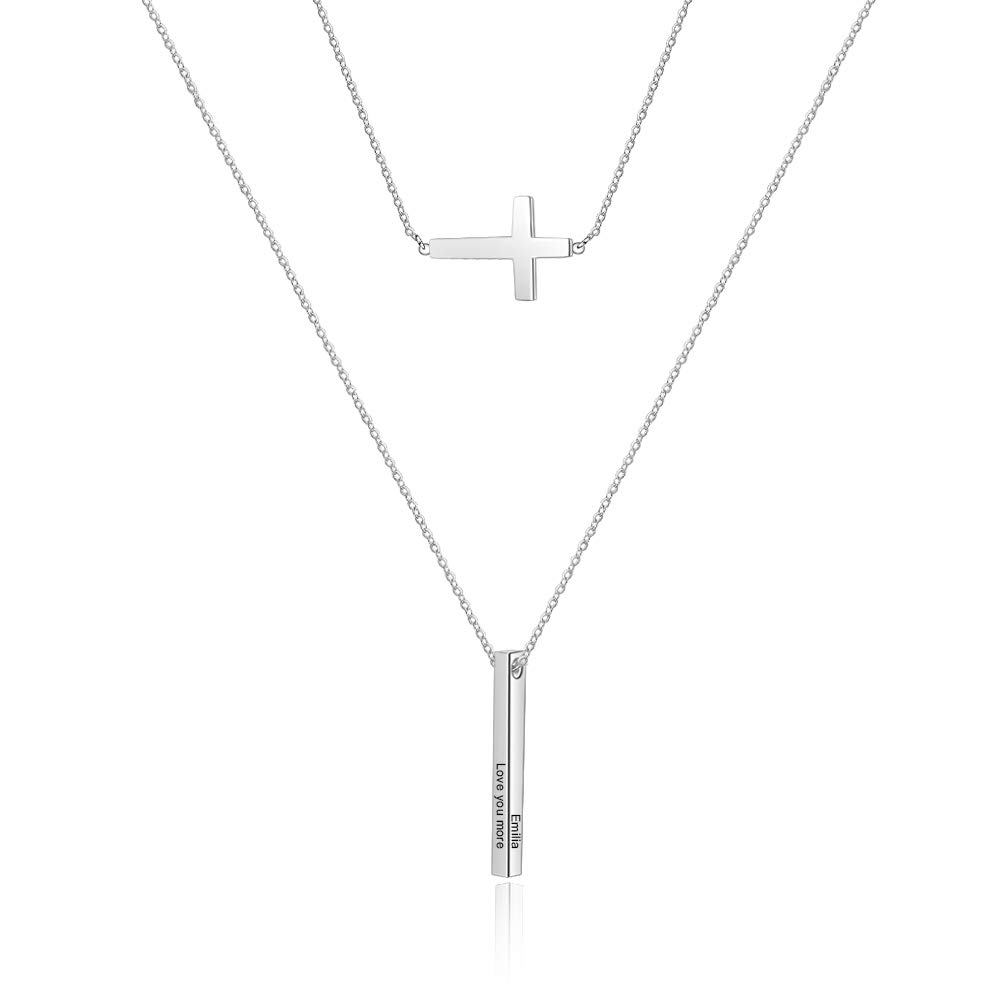 Personalized 4 Sided Vertical Bar Necklace Stainless Steel Y Pendant Cross Couples Name Necklace for Women Men (White) by SimpleQ