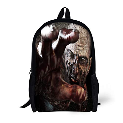 (Pinbeam Backpack Travel Daypack Portrait of Horrible Scary Zombie Attacking Reaching Waterproof School)