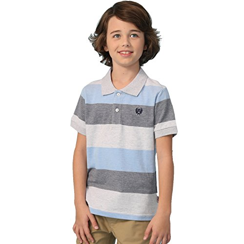 ort Sleeve Casual Rugby Polo Shirt (Blue Gray,10) ()