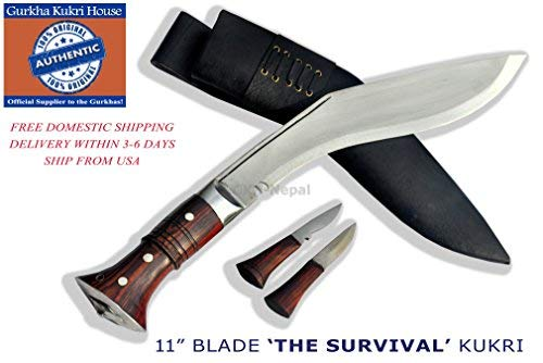 "Authentic Gurkha Knife - 12"" Blade World War II 'the Survival alive' Kukri Full Tang with Black Leather Sheath-Handmade by Gurkha Kukri House(GKH) in Nepal -Warehoused & Ship from USA"