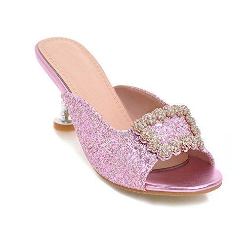 Weibliche Sandalen Quadratische Pantoffeln Red Einförmige Heels Schnallen Große KUKI Heel Drucken High Sandalen Damen Damen High Strass Hausschuhe Größe wxnFBpCqB