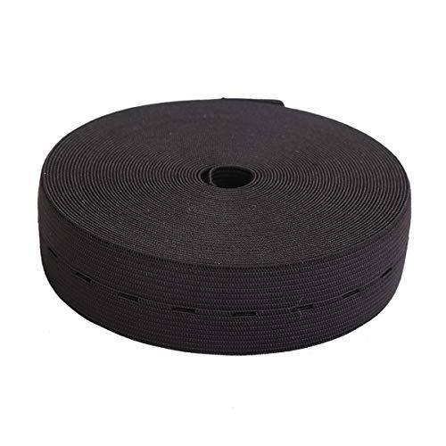 MYUREN 1Inch by 10 Yard Black Buttonhole Knit Stretch Elastic Bands Spool Flat Elastic Belt