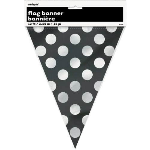 Plastic Black Polka Pennant Banner product image