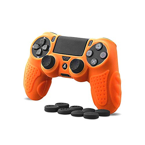 (CHINFAI PS4 Controller DualShock 4 Skin Grip Anti-Slip Silicone Cover Protector Case for Sony PS4/PS4 Slim/PS4 Pro Controller with 8 Thumb Grips (Orange))