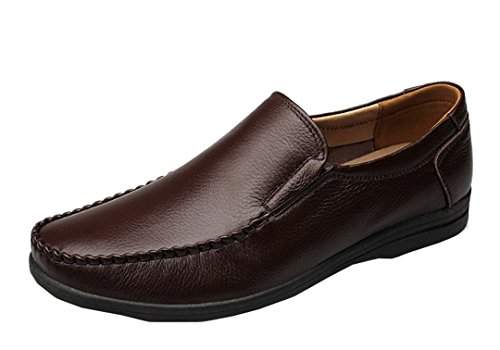 TDA Mens Classic Casual Comfortable Leather Driving Penny Loafers Dress Mocccasin Boat Shoes Brown TymK67cF