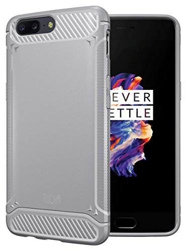 TUDIA OnePlus 5 Case, Carbon Fiber Design Lightweight [TAMM] TPU Bumper Shock Absorption Cover for OnePlus 5 (Gray)