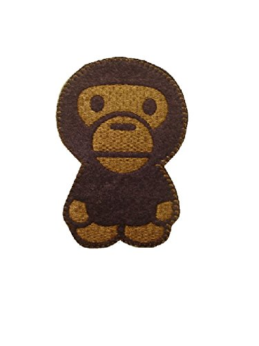 Monkey Iron On Patch Applique Fabric Motif Children Decal 4.8 x 3 inches (11 x 7.5 cm) - Iron On Patches Monkey