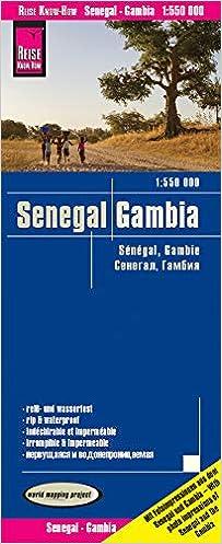 Senegal y Gambia, mapa de carreteras impermeable. Escala 1 ...