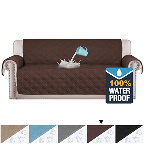 (H.VERSAILTEX 100% Waterproof Extra-Wide Couch Cover for Dogs Non-Slip Oversized Sofa Covers for Leather Couch, Seat Width Up to 78 Inch Washable Furniture Protector (Oversized Sofa: Brown))