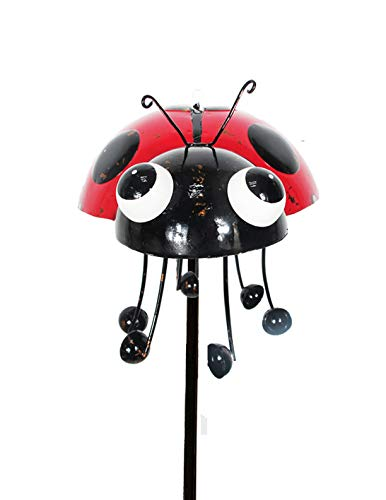 (Continental Art Center Inc. CAC18127 2019 Hand Painted and ENAMELED Ladybug with Spinning Legs Kinetic Garden Stake Lawn and Yard Art Decor, Colorful)