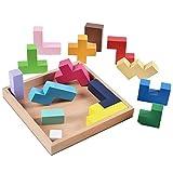 DANNI Kids Wooden Montessori Tetris Game Colorful Blocks Wood Box Geometric Shape Slide Building Block